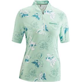 Gonso Bondasca Half-Zip Kurzarm Radshirt Damen light green allover